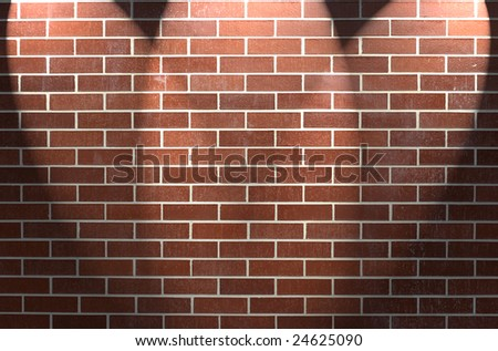 Red brick wall with three spotlights. - stock photo