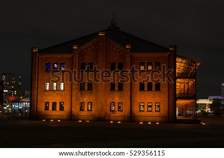 Red Brick Warehouse in yokohama, japan light up in the evening