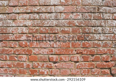 Red Brick/ Worn White Washed Wall (background or wallpaper) - stock photo