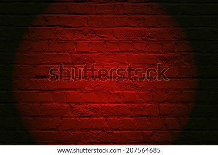Red Brickwall Round Spotlight And Black Borders Frame B