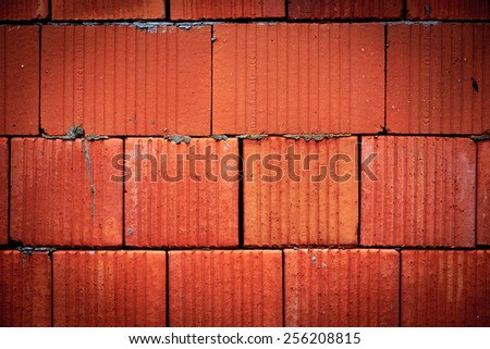 red brickwork wall - abstract background - stock photo