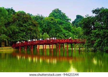 Red Bridge in Hoan Kiem Lake, Ha Noi, Vietnam - stock photo