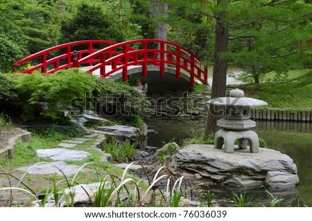 Red Japanese Garden Bridge garden-bridge stock images, royalty-free images & vectors