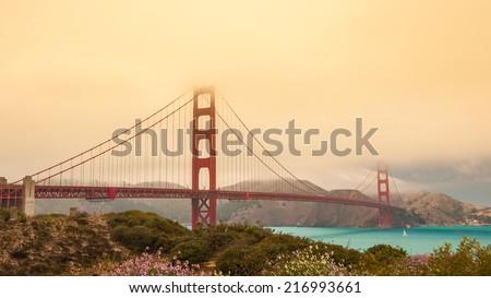 Red Bridge of San Francisco - stock photo