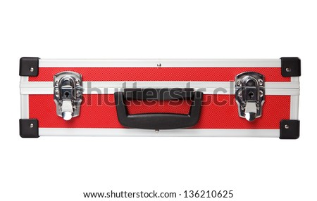 Red briefcase on white background