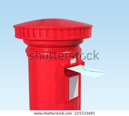 Red British postbox isolated on blue background - stock photo