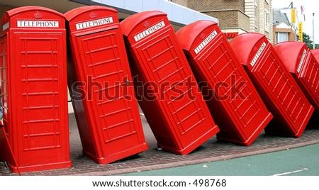 Red British telephone boxes - stock photo