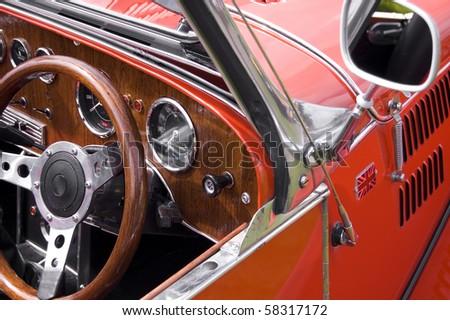 Red British vintage car - stock photo