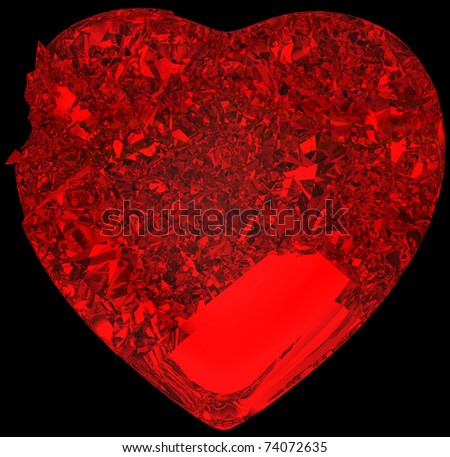Red Broken crystal Heart: unrequited love, death, disease or pain. Isolated on black - stock photo