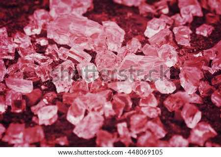 Red broken glassy cubes - stock photo