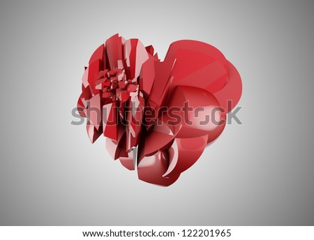 red broken heart isolated on gray - stock photo