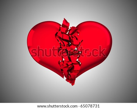 Red Broken Heart - unrequited love or illness. Over grey background - stock photo