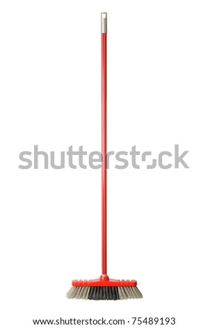 Red broom isolated on white background - stock photo
