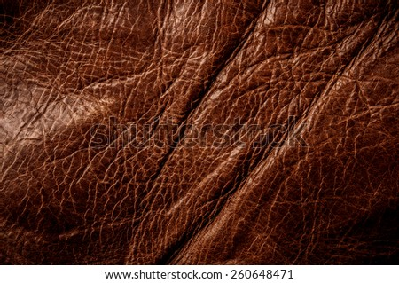 Red Brown Leather for Concept and Idea Style of Fine Leather Crafting, Handcrafts Workspace, Handmade Leather Handcrafted, Leather Worker. Background Textured and Wallpaper. Vintage Rustic. - stock photo