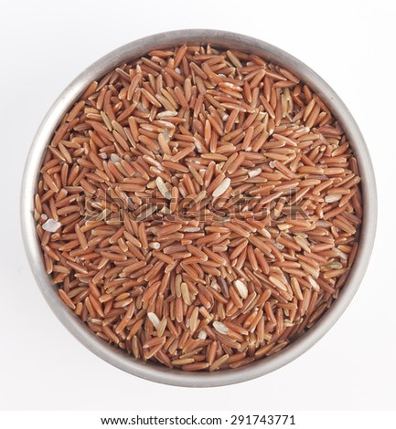 Red Brown Rice Surface Top View Close up Texture isolated on white background - stock photo