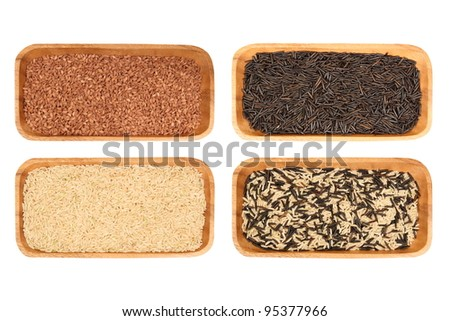 red, brown, white, black, wild rice in a wooden bowl, isolated, white background, texture - stock photo