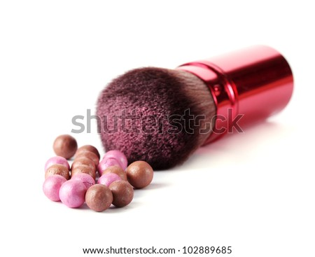 red brush for make-up with powder balls isolated on white - stock photo