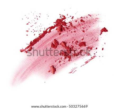 red brush stroke and scattered blush and eyeshadow on white background