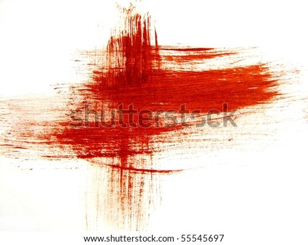Red Brush Strokes on Paper 1 - stock photo