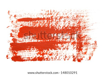 Red brush strokes on the white background