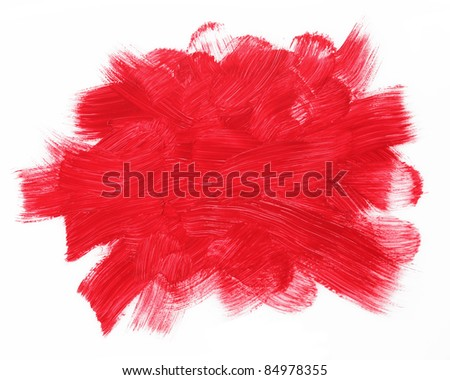 Red brushstrokes isolated on a white background. - stock photo