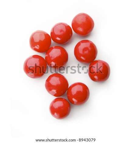 Red bubble gum balls isolated on white - stock photo