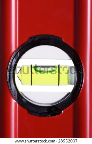 Red bubble spirit level for construction - stock photo