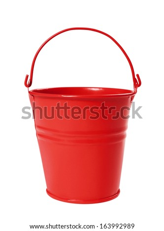 Red Bucket, Isolated on white background - stock photo