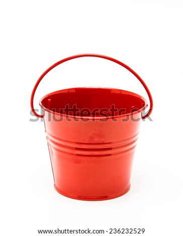 Red bucket isolated on white background - stock photo