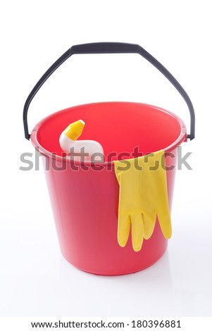 red bucket with wc detergent