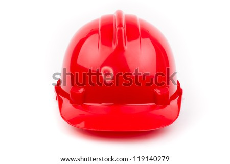red builder hardhat isolated on white - stock photo