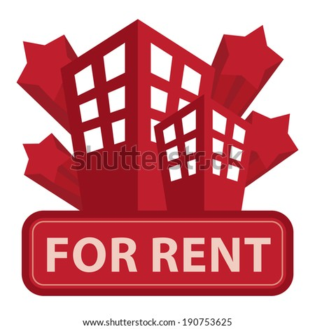 Red Building, Apartment or Office For Rent Icon or Label Isolated on White Background - stock photo