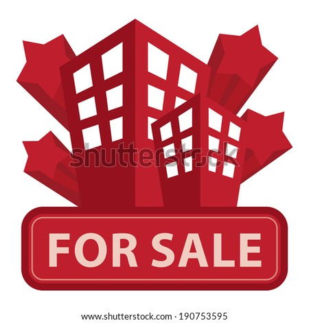 Red Building, Apartment or Office For Sale Icon or Label Isolated on White Background - stock photo