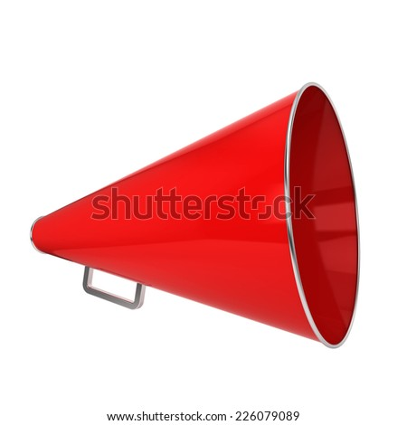 Red bullhorn. 3d illustration isolated on white background - stock photo
