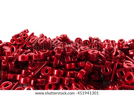 Red bunch of percent falling down 3d render