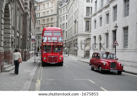 Red Bus and Taxi - stock photo