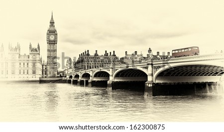 Red bus on Westminster Bridge by the Houses of Parliament sepia vintage - stock photo