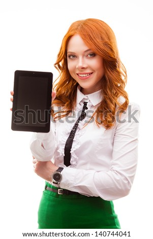 red businesswoman showing tablet isolated over white - stock photo