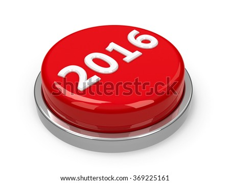 Red 2016 button isolated on white background, three-dimensional rendering