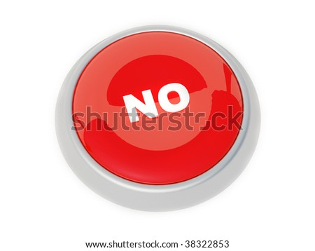 red button on white background - stock photo