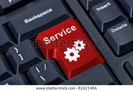 Red button service internet concept. - stock photo