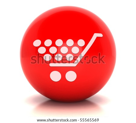 Red Button shopping - stock photo