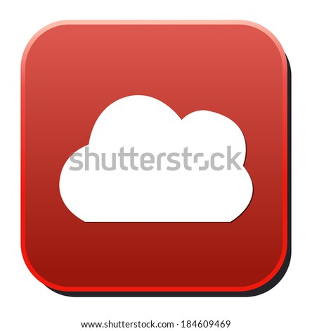 red button with cloud icon - stock photo