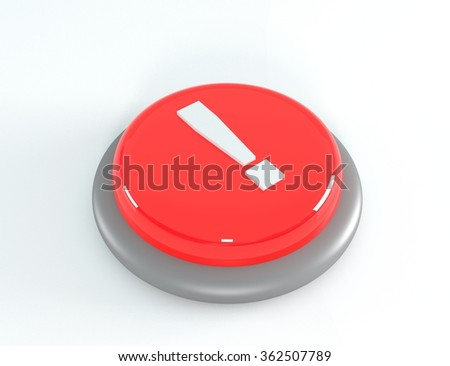Red button with exclamation mark, 3d illustration - stock photo