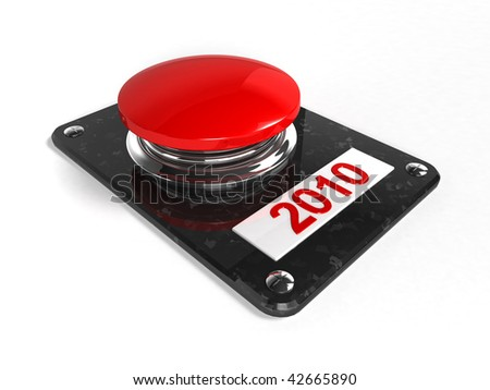 Red button with the numbers 2010 - 3d rendering - stock photo