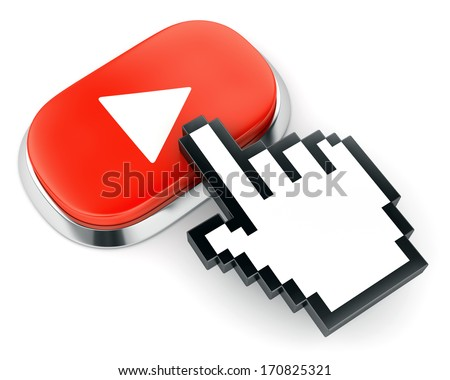 Red button with web video play symbol and hand cursor isolated on white background - stock photo