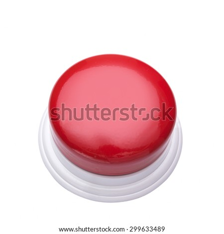 Red Buzzer isolated on white background,clipping path - stock photo
