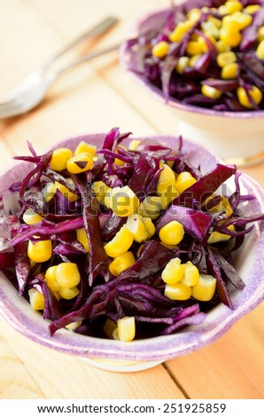 red cabbage salad with sweet corn - stock photo