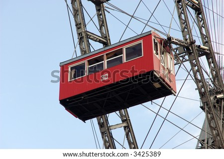 Red Cabin of Prater - giant old ferris wheel in Vienna  Austria. - stock photo