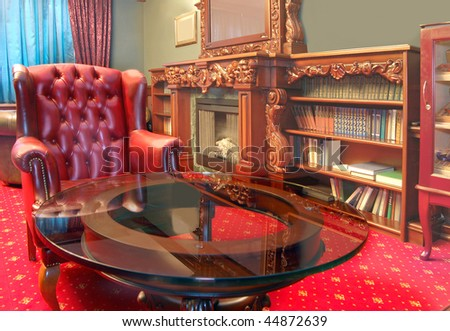 red cabinet interior - stock photo